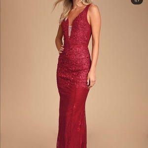 Burgundy mermaid dress.